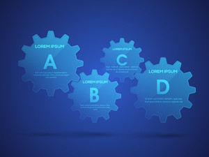 Creative infographic elements in cog wheel shape on shiny blue background for Business.