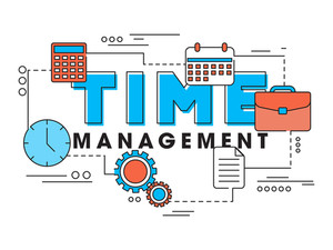 Creative Infographic elements like clock, calculator, calendar etc for Business Time Management concept.