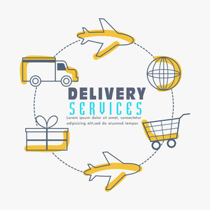Creative Infographic elements showing process of Delivery Services.