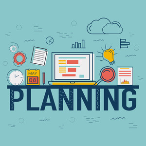 Creative Infographic elements with digital devices for Business Planning concept.
