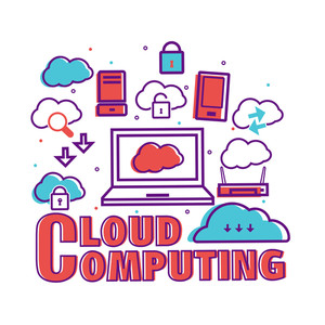 Creative Infographic elements with digital devices for Cloud Computing concept.