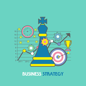 Creative infographic elements with statistical graph for Business Strategy concept.