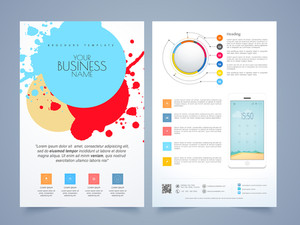 Creative infographic flyer, template or brochure design for business purpose with front and back page presentation.