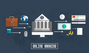 Creative Infographic layout with elements for Online Banking concept.