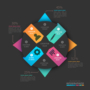Creative infographic papers with different web symbols for your Business.