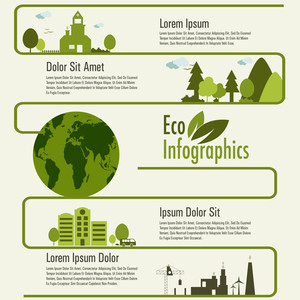 Creative infographic template layout with city view and illustration of a globe for ecology concept.