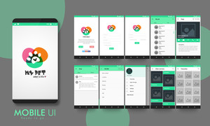 Creative Material Design UI, UX, GUI layout for e-commerce, responsive website and pet adoption mobile apps including Welcome, Sign-Up, Login, My Pets, Animal Category, Chat, Filter, Other Services, and Favourites Screens.