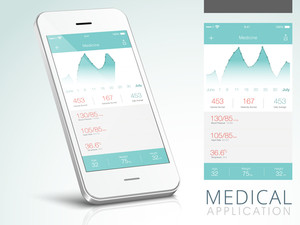 Creative Medical Application User Interface layout with Smartphone presentation.