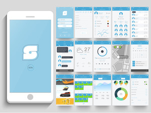Creative Mobile User Interface Screens with different features and applications for Smartphone.