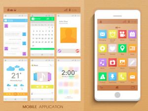 Creative Moblie Application Interface kit with smartphone presentation.