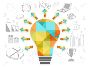 Creative polygon light bulb with various infographic elements on grey background for your business reports and professional presentation.