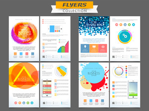 Creative professional business flyers collection with abstract design and infographic elements.