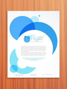 Creative professional flyer, template or brochure design for your business on wooden background.