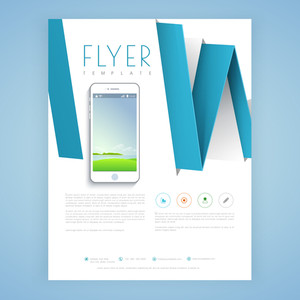 Creative professional flyer, template or brochure design with smartphone for business concept.