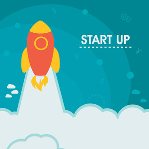 Creative Rocket flying above clouds for New Business Start Up concept.