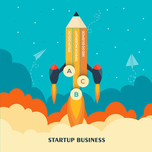 Creative Rocket in pencil shape flying above clouds for New Business Project Start Up concept.