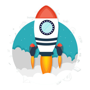 Creative rocket ready to fly, Vector illustration for New Business Project Start Up concept.