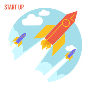 Creative rockets flying in the sky, Vector illustration for New Business Start Up concept.