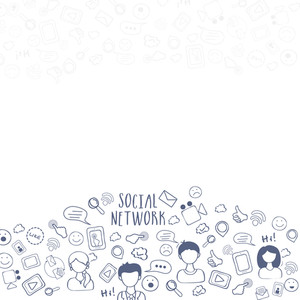 Creative Social Media symbols for Social Networking and Communication concept.