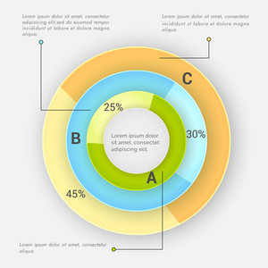Creative statistical Infographic circle for your business reports and presentation on grey background.