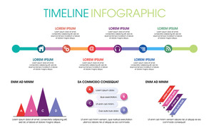 Creative timeline infographic elements layout with various web and social media icons on white background.