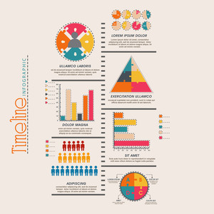 Creative timeline infographic template layout with colorful statistical graphs and charts for business or corporate sector.