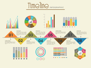 Creative timeline infographic template layout with various colorful statistical bars, charts and graphs for business reports and presentation.