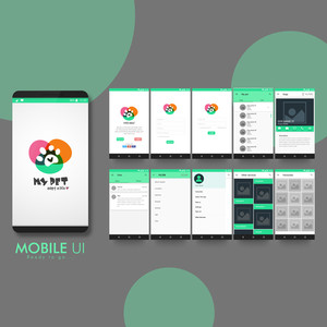 Creative UI, UX, GUI layout for e-commerce, responsive website and pet adoption mobile apps including Welcome, Sign-Up, Login, My Pets, Animal Category, Chat, Filter, Other Services.