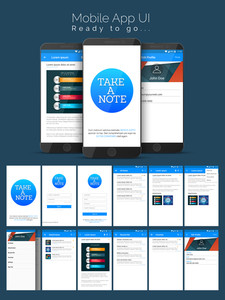 Creative UI, UX, GUI template layout for mobile apps and responsive website including Edit Profile, Sign In, Sign Up, Attachments, Recycle Bin and Favorites Screens.