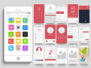 Creative User Interface kit with different Mobile Application Screens presentation.
