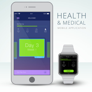 Creative User Interface layout showing synchronization between smartphone and smartwatch for Health and Medical Mobile Application concept.