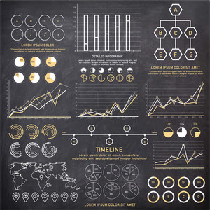 Creative various business infographic elements with statistical graphs and charts on chalkboard background.