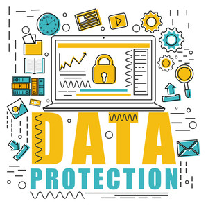 Creative various Infographic elements with laptop showing locked screen for Business Data Protection concept.