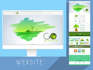 Creative website template design with nature view and other ecological elements.