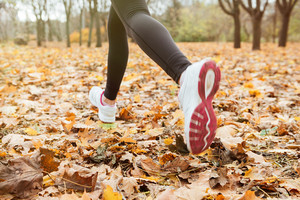 Cropped photo of girl runner in warm clothes running in autumn park