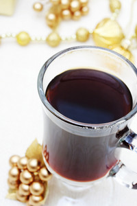 Cup of Coffee with Christmas Ornaments and Beads
