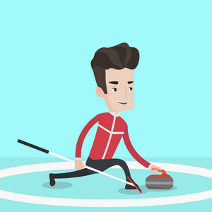Curling player playing curling on a curling rink. Sportsman with stone and broom. Curling player delivering a stone. Curling player sliding over the ice. Vector flat design illustration. Square layout