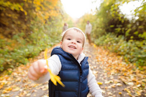 Cute little boy in warm clothes outside in colorful nature on a sunny day, giving somebody yellow tree leaf