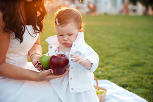 Cute little girl taking apples from her mom on picnic