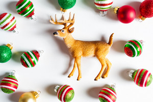 Deer and Christmas ornaments from top view