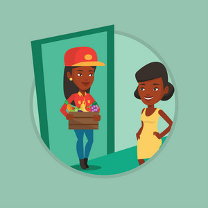 Delivery courier delivering online grocery shopping order to customer. Girl receiving groceries from delivery courier at home. Vector flat design illustration in the circle isolated on background.