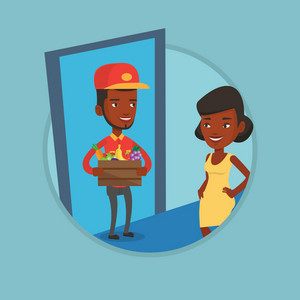 Delivery man delivering online grocery shopping order. Woman receiving groceries from delivery man. Man delivering groceries. Vector flat design illustration in the circle isolated on background.