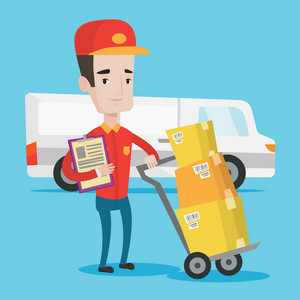 Delivery man with cardboard boxes on trolley. Delivery man with clipboard. Delivery man standing in front of delivery van. Vector flat design illustration. Square layout.
