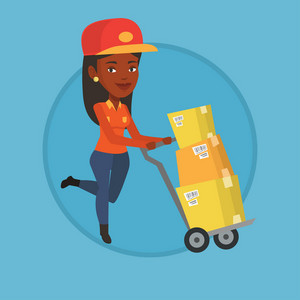 Delivery postman with boxes on trolley. Delivery postman pushing trolley with cardboard boxes. Delivery postman delivering parcels. Vector flat design illustration in the circle isolated on background