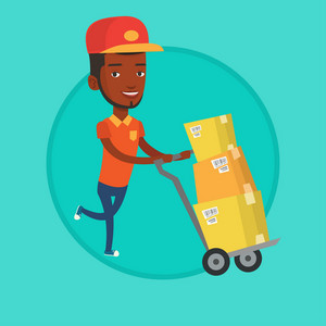 Delivery postman with cardboard boxes on trolley. Delivery postman pushing trolley with boxes. Delivery postman delivering parcels. Vector flat design illustration in the circle isolated on background