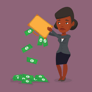 Depressed african-american bankrupt shaking out money from his briefcase. Despaired bankrupt business woman emptying a briefcase. Bankruptcy concept. Vector flat design illustration. Square layout.