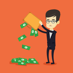 Depressed asian bankrupt shaking out money from his briefcase. Despaired young bankrupt business man emptying his briefcase. Bankruptcy concept. Vector flat design illustration. Square layout.