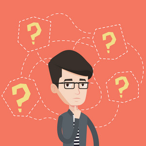 Depressed businessman standing under question marks. Young caucasian businessman thinking. Thoughtful businessman surrounded by many question marks. Vector flat design illustration. Square layout.