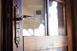 Detail of an old engraved door handle