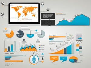 Different infographic elements set with world map on desktop screen for business and corporate sector.